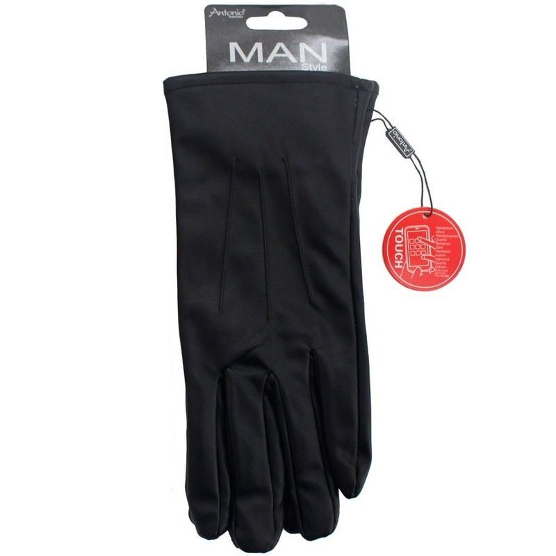 Telefoon handschoenen lederlook zwart voor heren