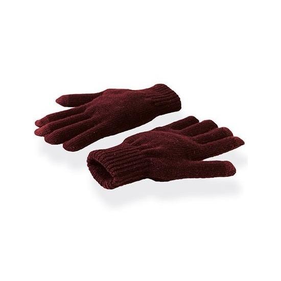Telefoon handschoenen bordeaux rood voor volwassenen