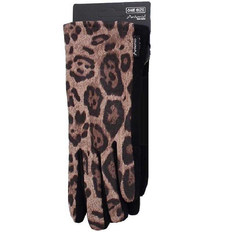 Telefoon handschoenen panter dierenprint voor dames