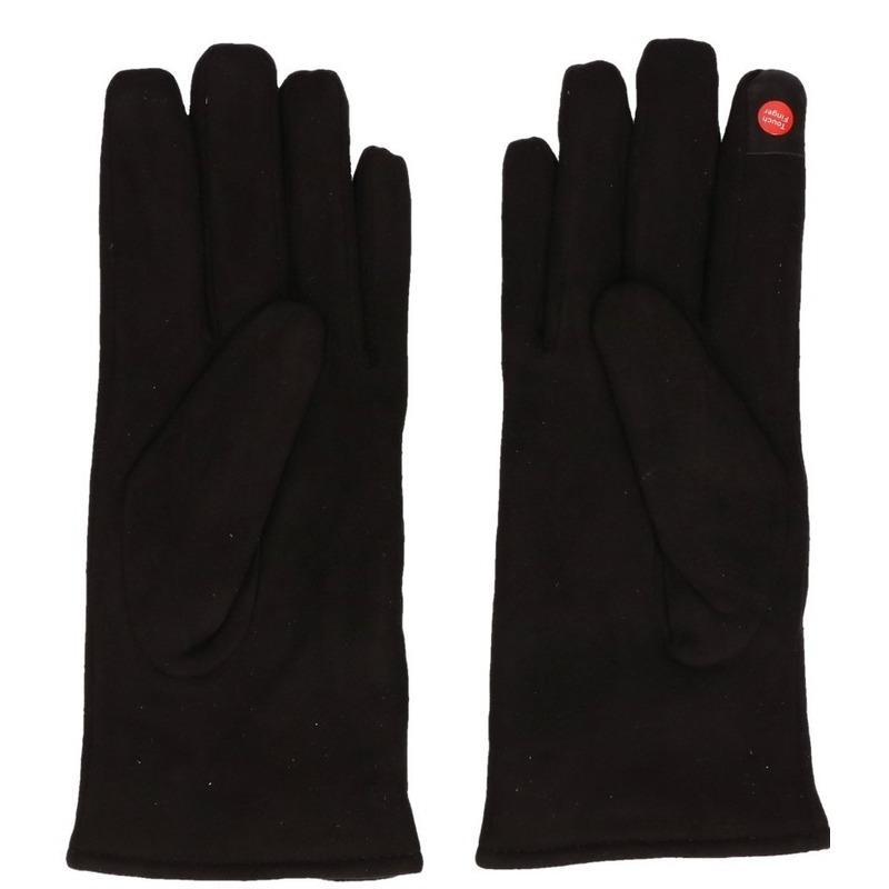 Telefoon handschoenen zwart suede voor dames